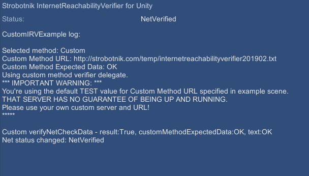 Internet Reachability Verifier by Strobotnik (for Unity®)